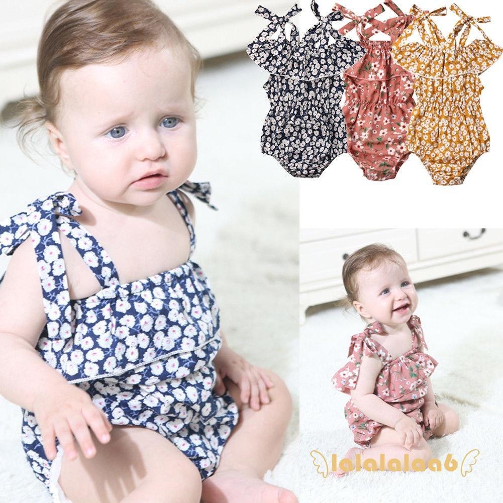Infant Baby Girls Floral Bodysuit Strap Romper Lace Summer Jumpsuit Flares Sunsuit 0-24M