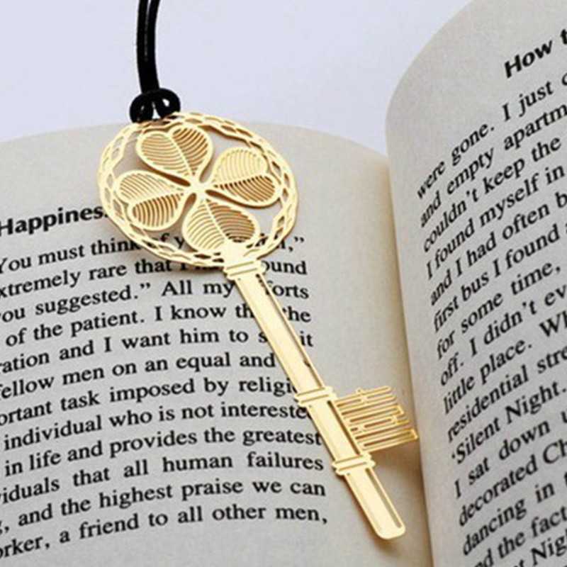 2pcs Key Shaped Metal Bookmarks Book Markers Gift For Readers