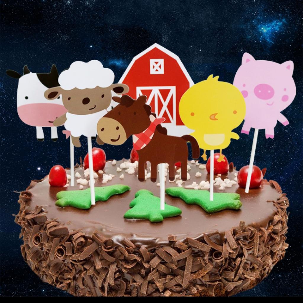 Awe Inspiring Sg Seller Farm Barn Animal Theme Birthday Cake Toppers Tags Personalised Birthday Cards Veneteletsinfo