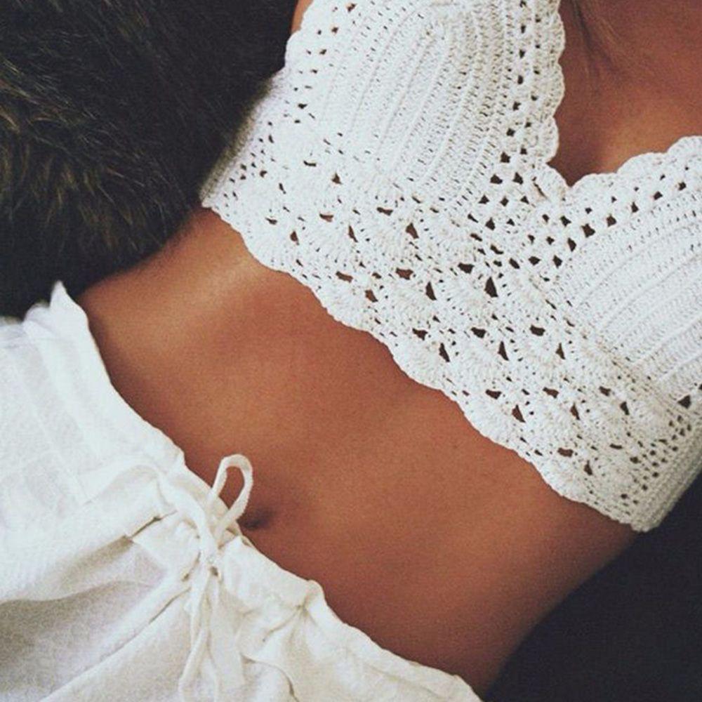 Women Crochet Bra Lace Knitted Boho Bra Beach Bikini  37d1bda82