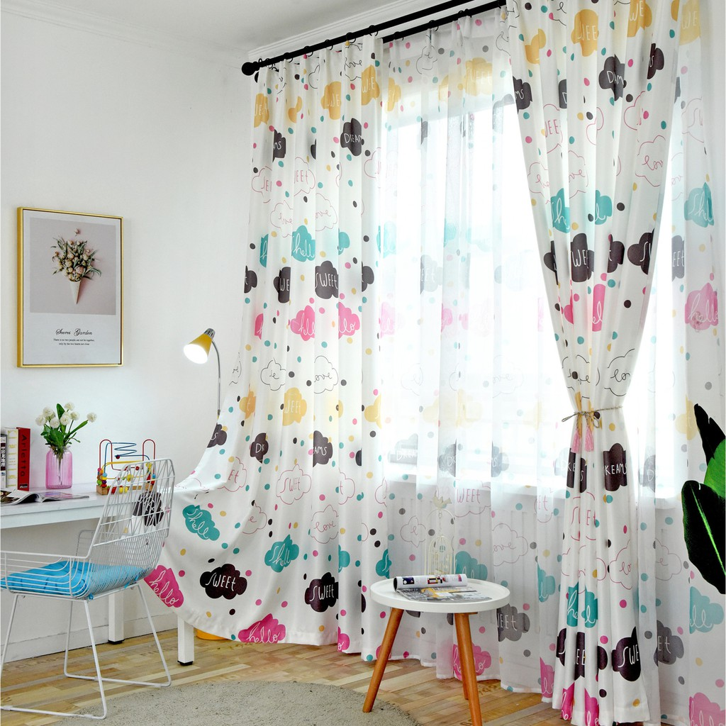 Ins Wind Cartoon Blackout Curtains Customized Finished Cute Cloud Curtain Cloth Bedroom Living Room Blackout Colorful Clouds Shopee Singapore