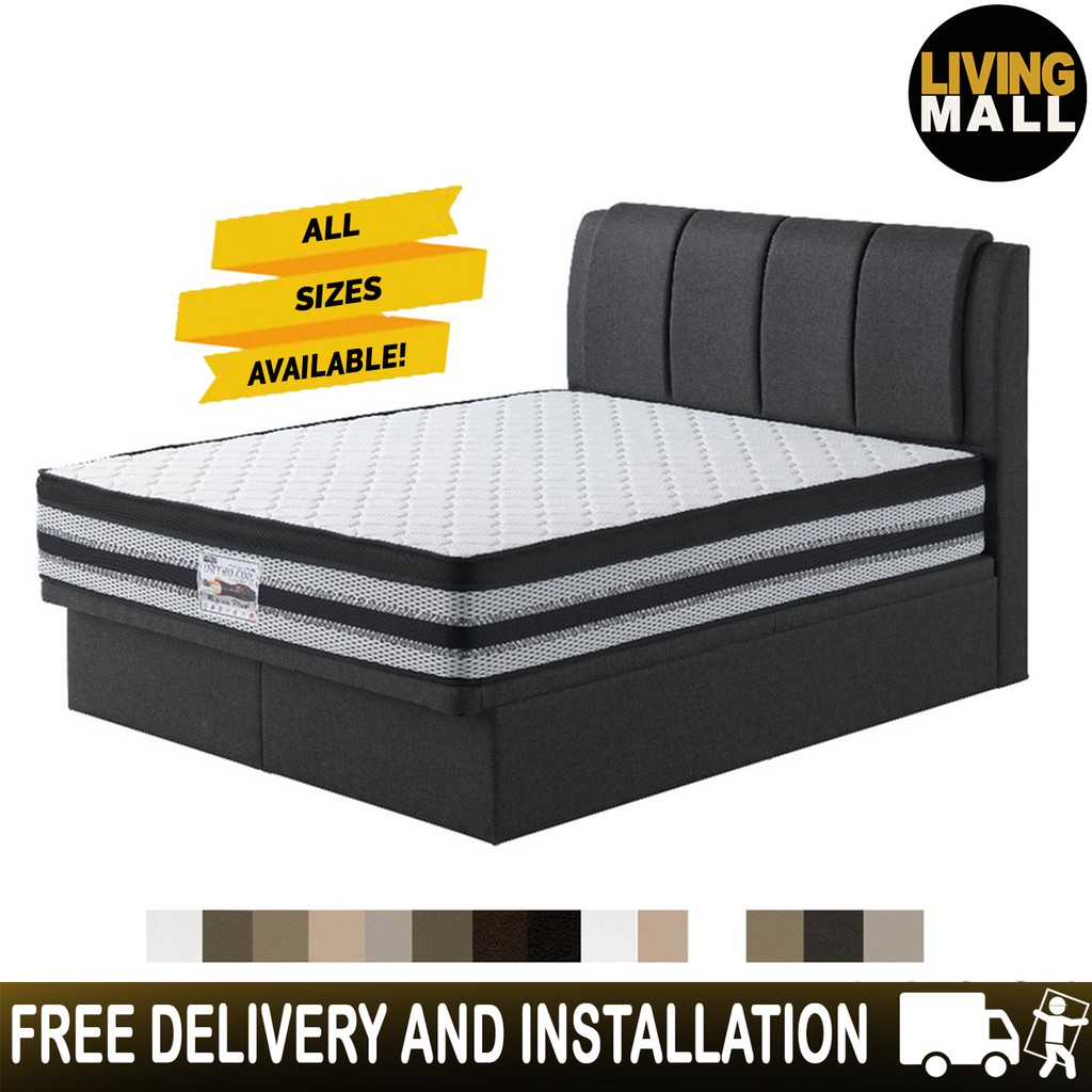 Image result for Living Mall Angela Leather And Fabric Storage Bed Frame singapore