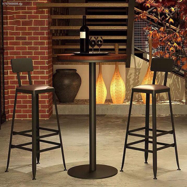 The Bar Chair Solid Wood European Wrought Iron Stool Stool Shopee Singapore