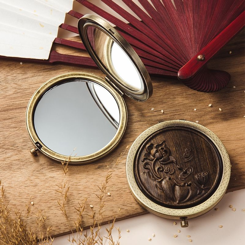 Wood Mirror Retro Carved Portable, Carved Wooden Round Mirror