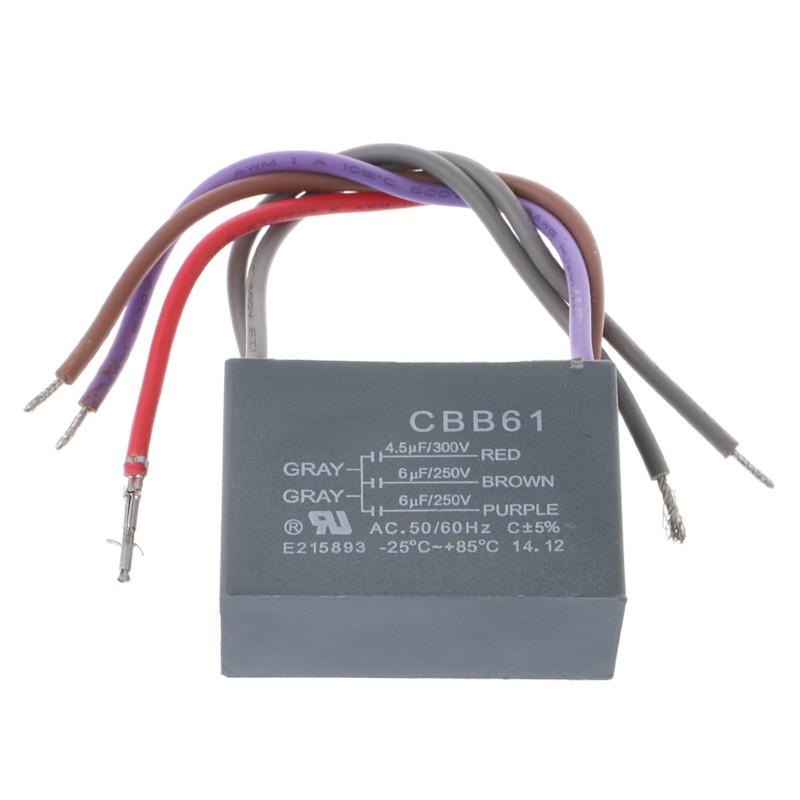 500V 1UF CBB61 Ceiling Fan Motor Running Capacitor 2 Wire 50//60 Hz
