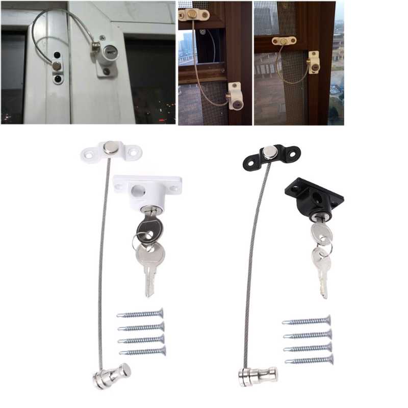Window Door Restrictor Child Baby Safety Security Cable Lock Catch White Black i