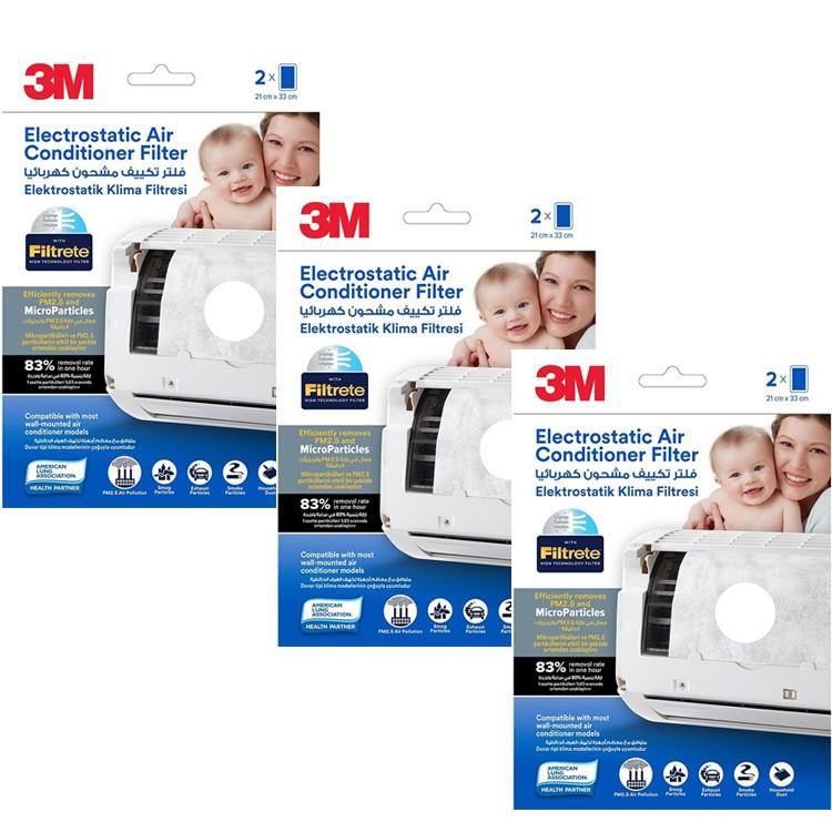 3M Filtrete Air Con Filters 2pc/pk (Pre-Cut) (Bundle of 3)
