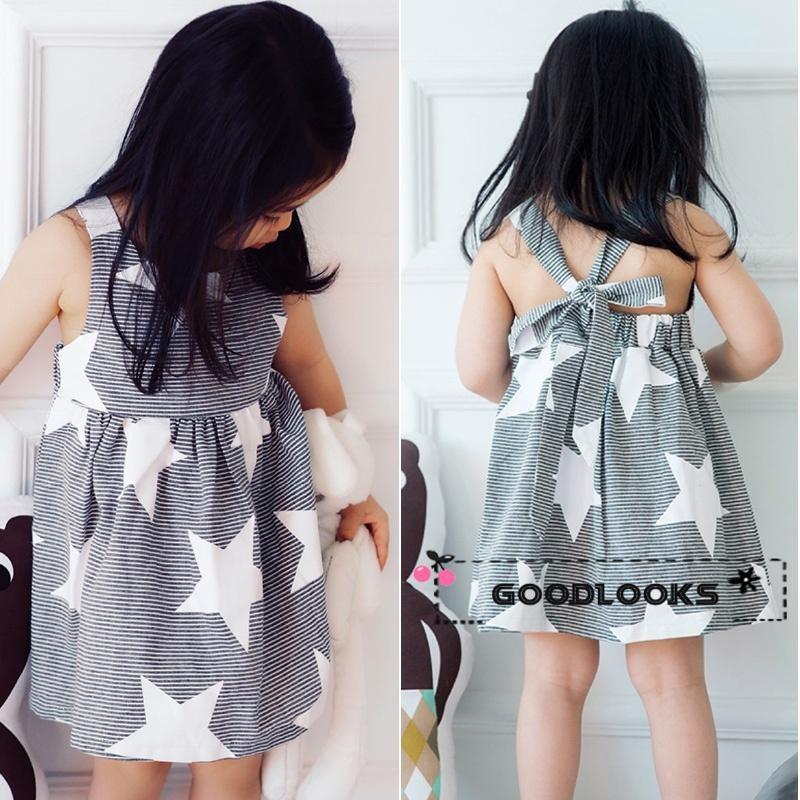 Toddler Baby Kids Girls Summer Sleeveless Beach Sundress Star Stripe Party Dress
