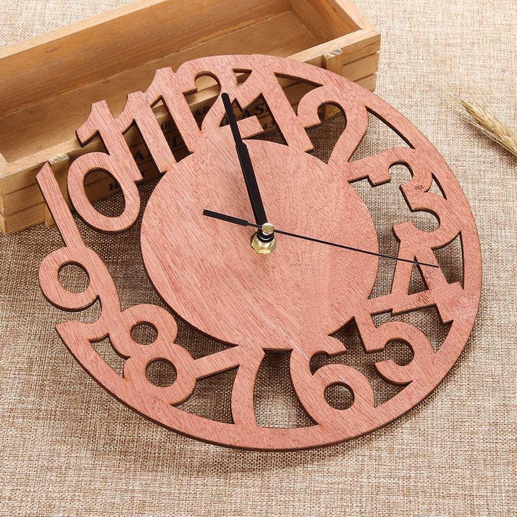 Round Figure Diy Clock Living Room Bedroom Decoration Solid Wood Clock Good Ranchotion