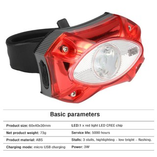 Raypal 3W USB Rechargeable Rear Bicycle Light WaterProof Taillight Cycling