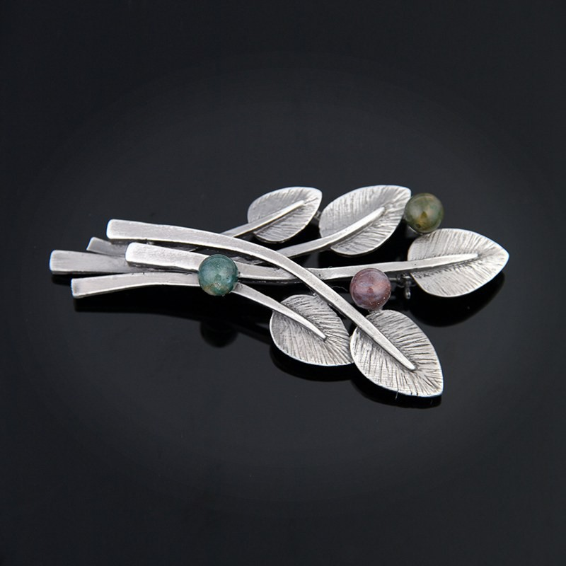 Women Vintage Alloy Moon Hair Clip Natural Stone Pendant Charms Clamp Hairpin~PB
