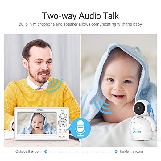 """HOMIEE 720P Wireless Video Baby Monitor with 5"""" HD LCD Digital Screen /& Robot /&"""