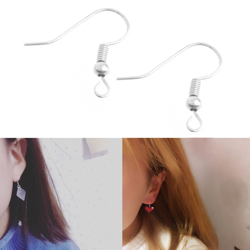*J❤* Earring Hooks Hypo-Allergenic Silver Plated Surgical Steel Ear Wires