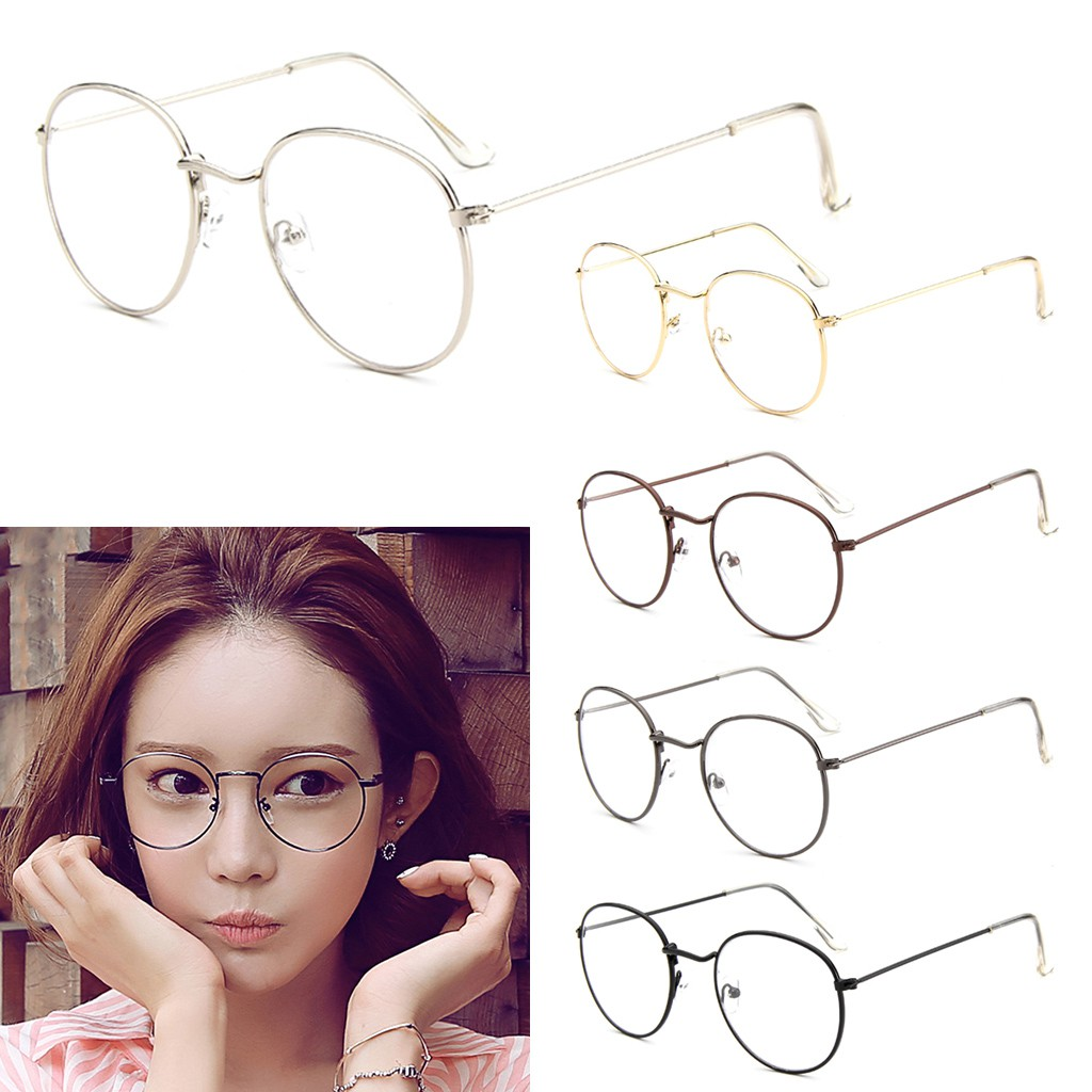 555209eb253 Vintage Unisex Eyeglass Metal Frame Glasses Round Spectacles Clear Lens  Optical
