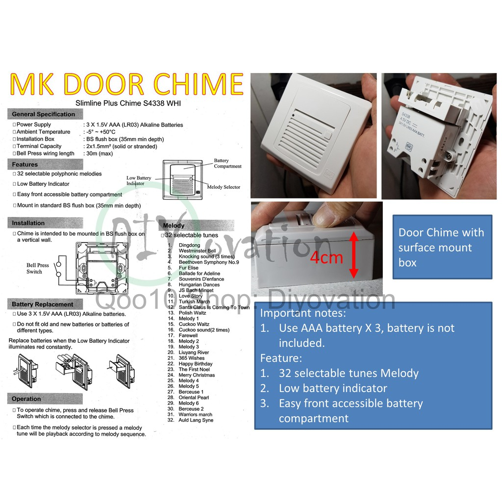 Wired Battery Door Bell for HDB/BTO/Condo on