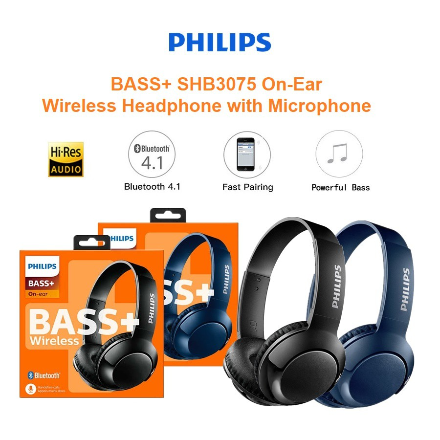 Philips Bass Shb3075 On Ear Wireless Headphone With Mic Shopee Singapore