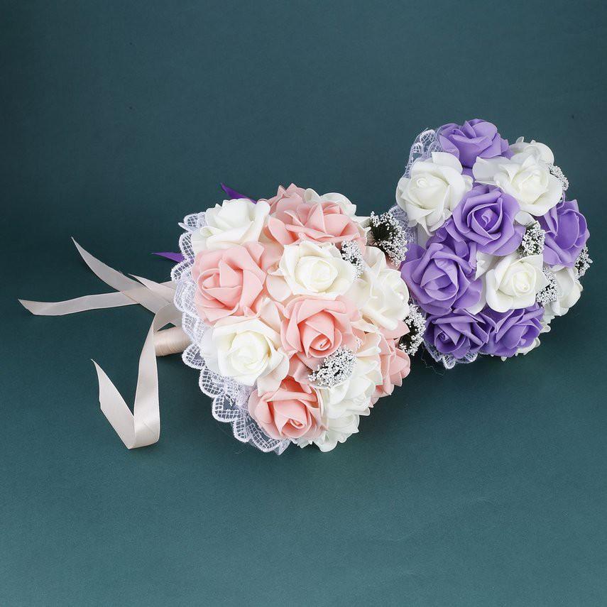 Bride Holding Flower Bouquet Korean Style Simulation Rose Bouquet For Wedding Shopee Singapore