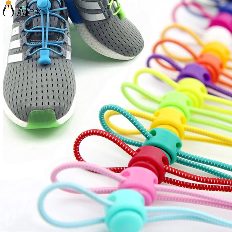 1 Pair Elastic No-Tie Locking Shoelaces Shoe Laces With Buckles For Sport Shoes