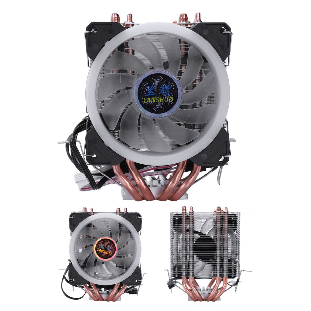 Lanshuo 4 Heat Pipe 3 Wire With Light Single Fan Cpu Fan Radiator Cooler  Heat Sink For Intel Lga 115
