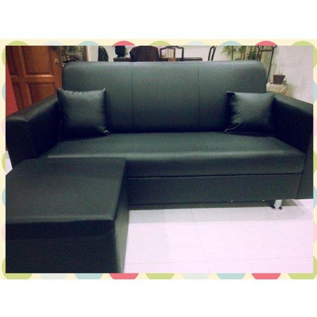 Brand New Cheap 3 Seater Faux Leather Sofa Ottoman Shopee