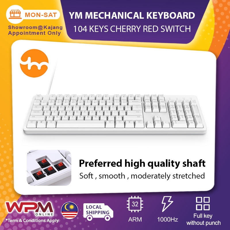Xiaomi Yuemi Mechanical Keyboard Mk06c Original 104 Keys Nkro Cherry Red Switch Pbt Keycap Double System Switch Shopee Singapore