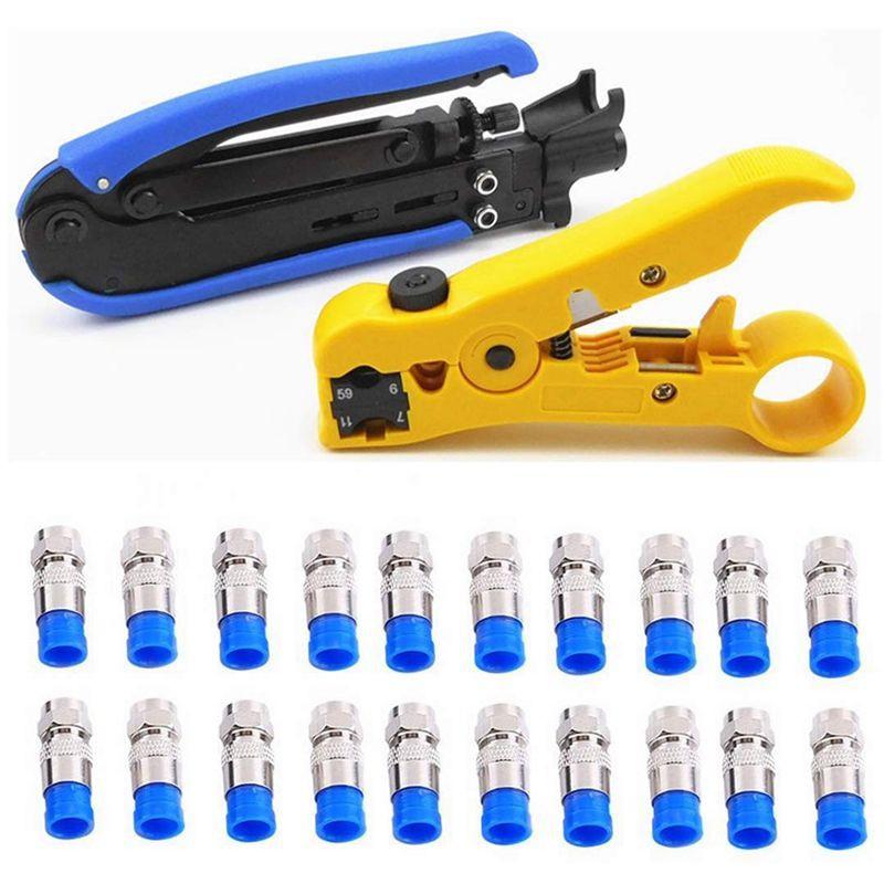 Compression Tool Coax Rg59 Rg6 BNC RCA F Connector Cable Stripper Crimper Set