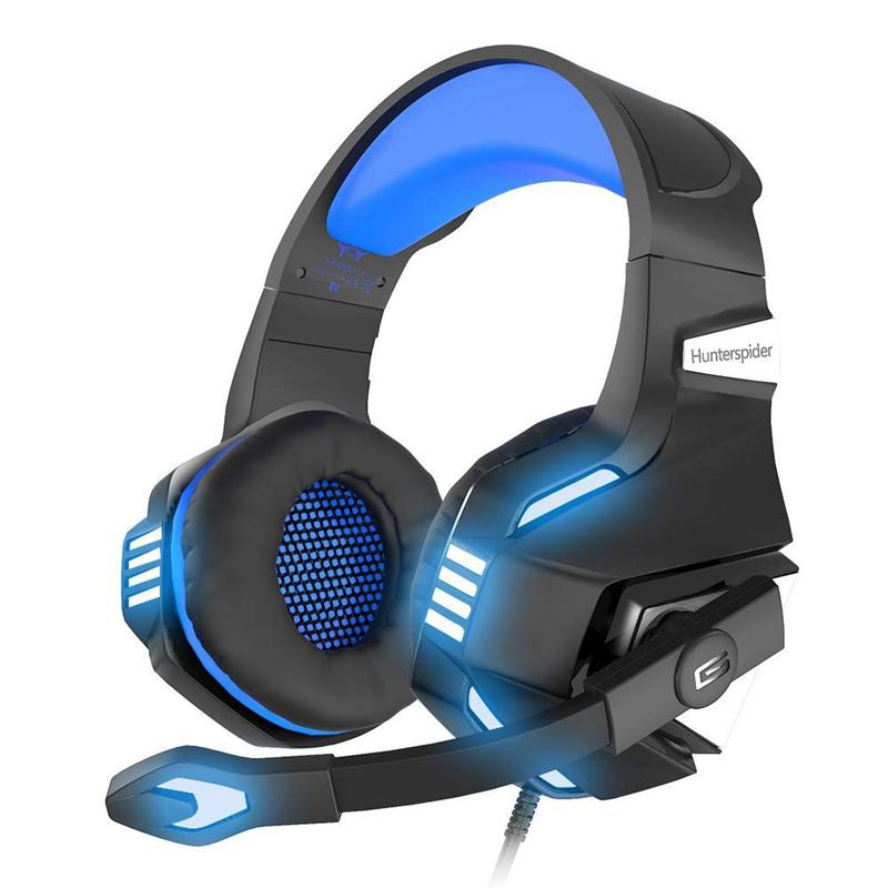 Hunterspider Stereo Gaming Headset PS4 Xbox One Noise Isolating Mic, LED  Light, Volume Control ZJS