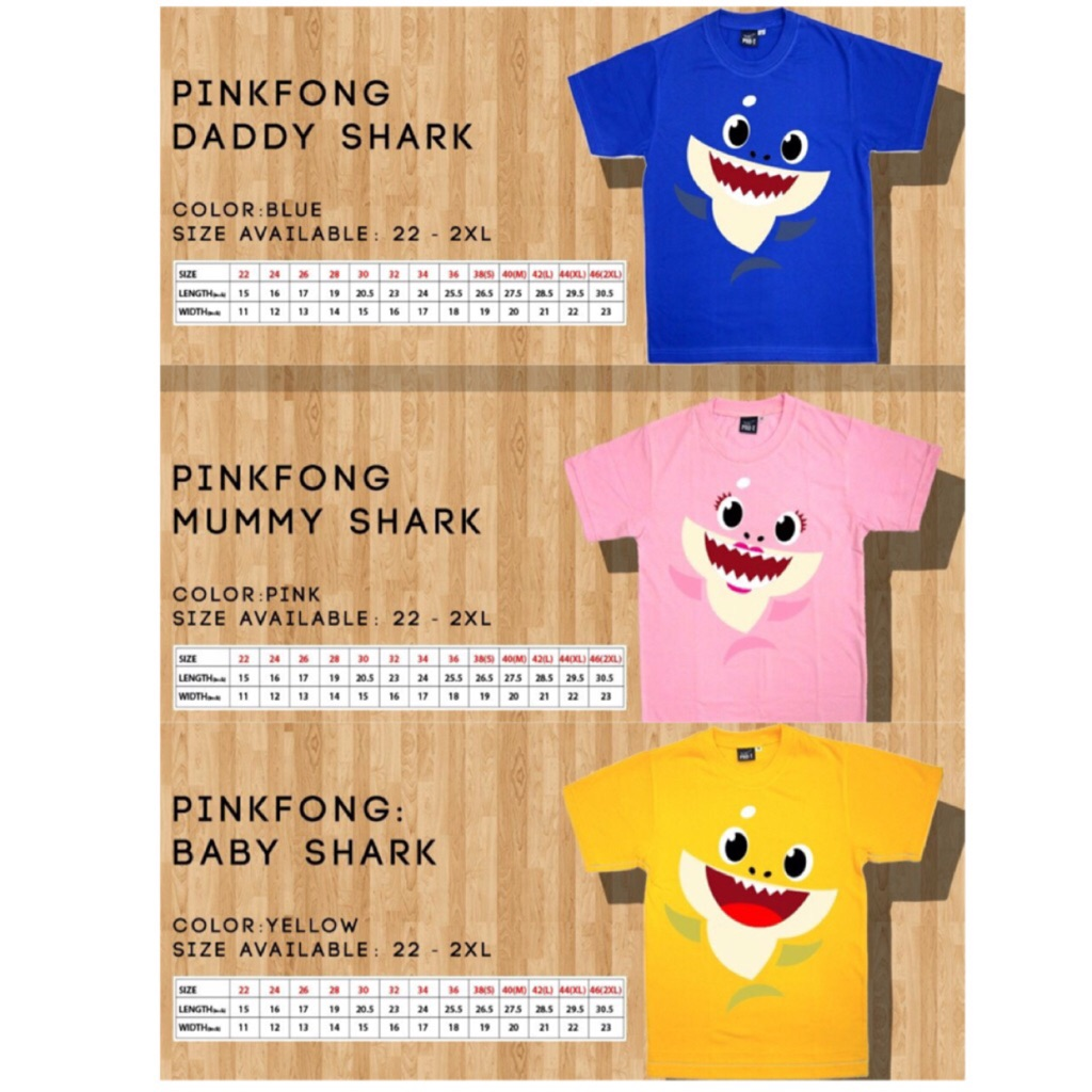 396133d7 Pink Fong Baby Shark Family T-shirt | Shopee Singapore