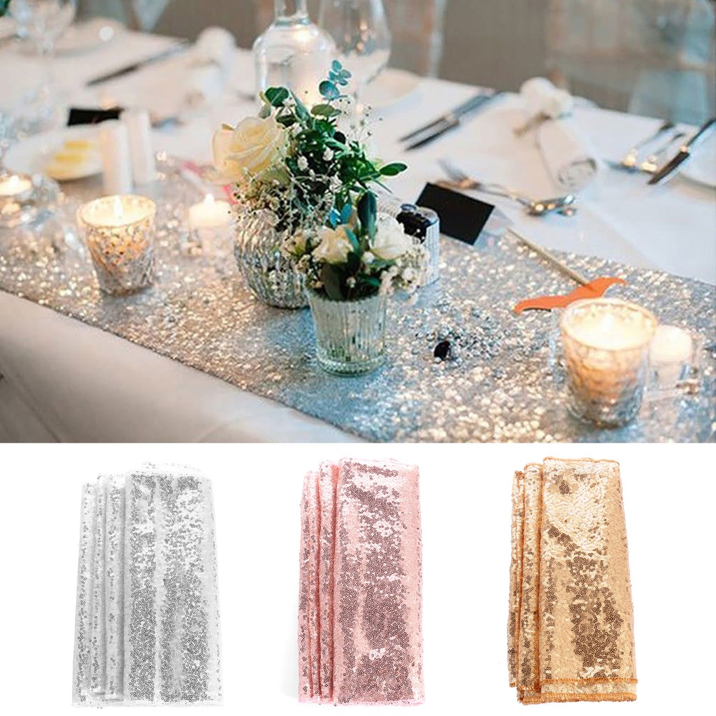12 X 108 Inch Sequin Sparkly Glitter Table Runners for Birthday Reception Party