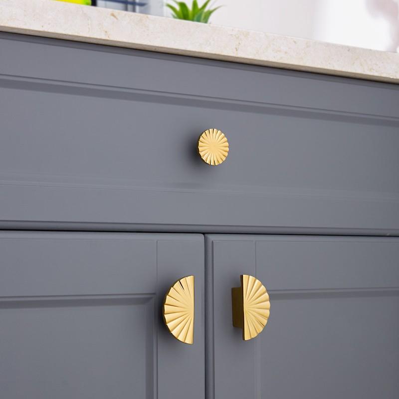 Diy Semi Circular Shape Door Knob, Antique Gold Kitchen Cabinet Hardware