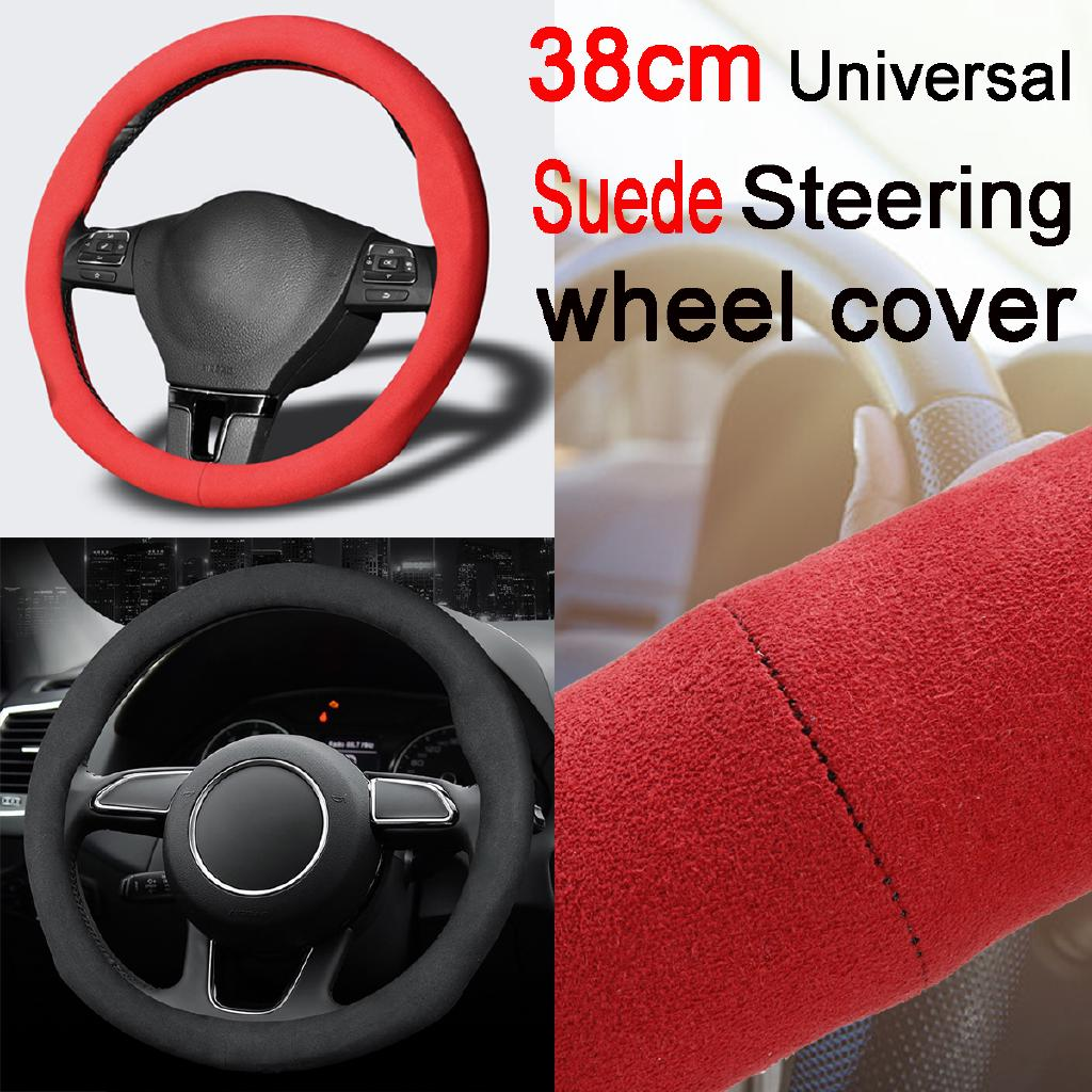 Car 38cm Handle Steering Wheel Cover Non-Slip Breathable Sweat PU Leather Cover