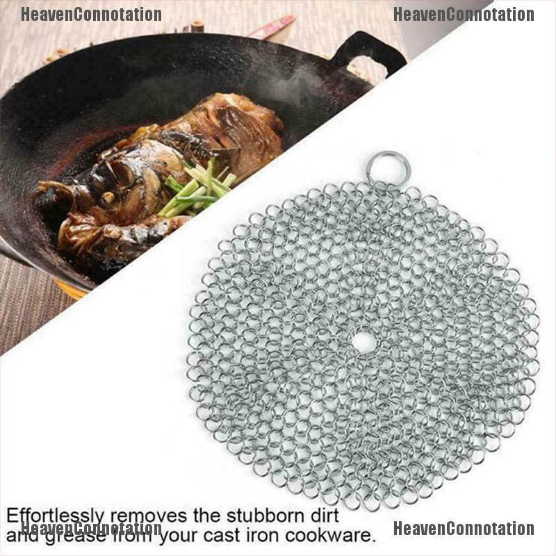 The Latest Tide Stainless Steel Cast Iron Cleaner Chain Mail Scrubber Tool Cookware Kitchen Charm Shopee Singapore