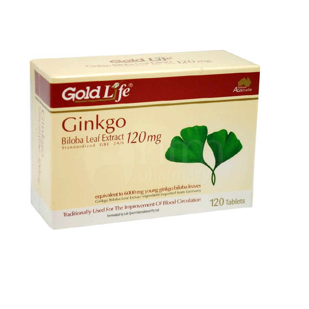 Gold Life Ginkgo Biloba 120mg 120 tablets For improvement of blood circulation