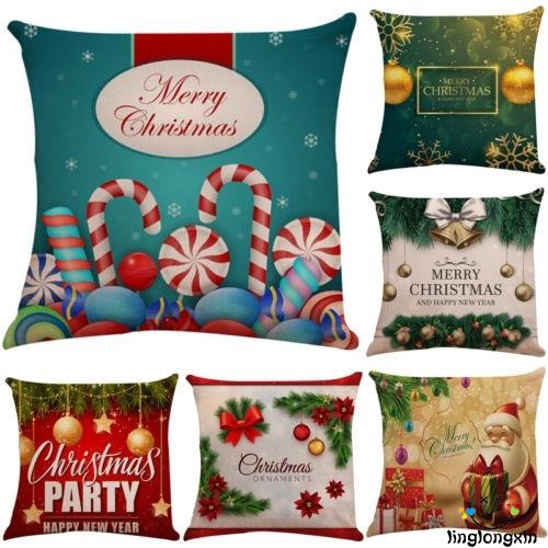 Christmas Cotton Linen Bed Sofa Waist Cushion Throw Pillow Case Cover Home Decor