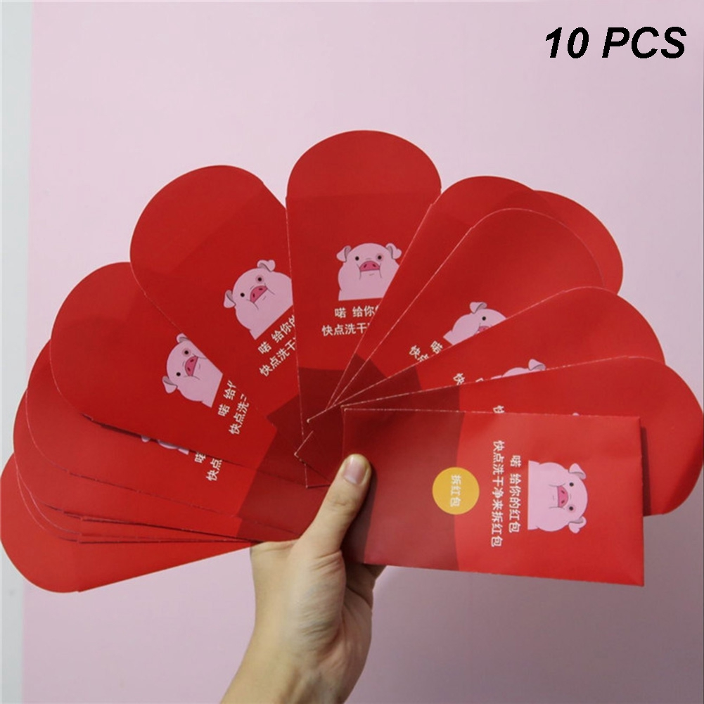 Hearty 10 Pcs Chinese New Year Red Packet Hong Bao Fairprice Elegant And Sturdy Package