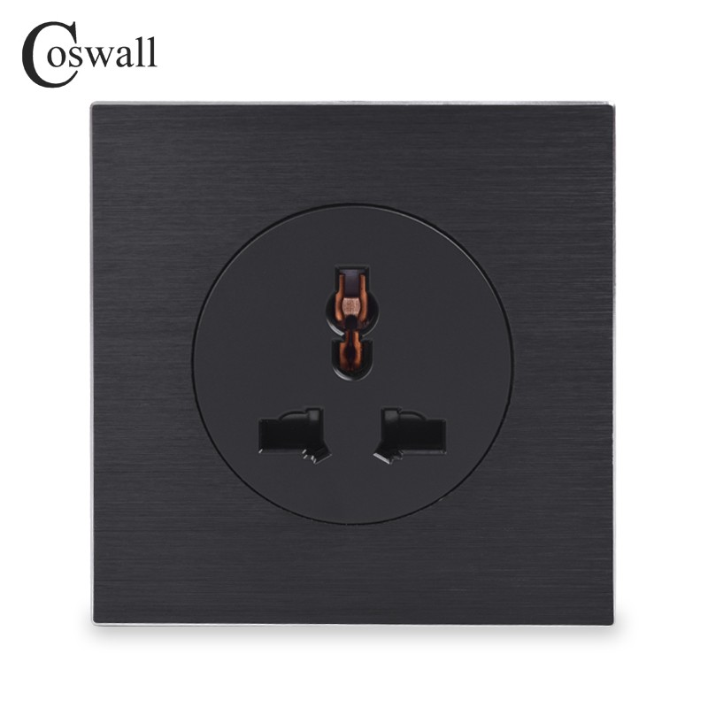 Well-Educated Coswall Wall Power Socket Double Universal 5 Hole Switched Outlet With Neon 2.1a Dual Usb Charger Port Led Indicator Black Color Electrical Sockets