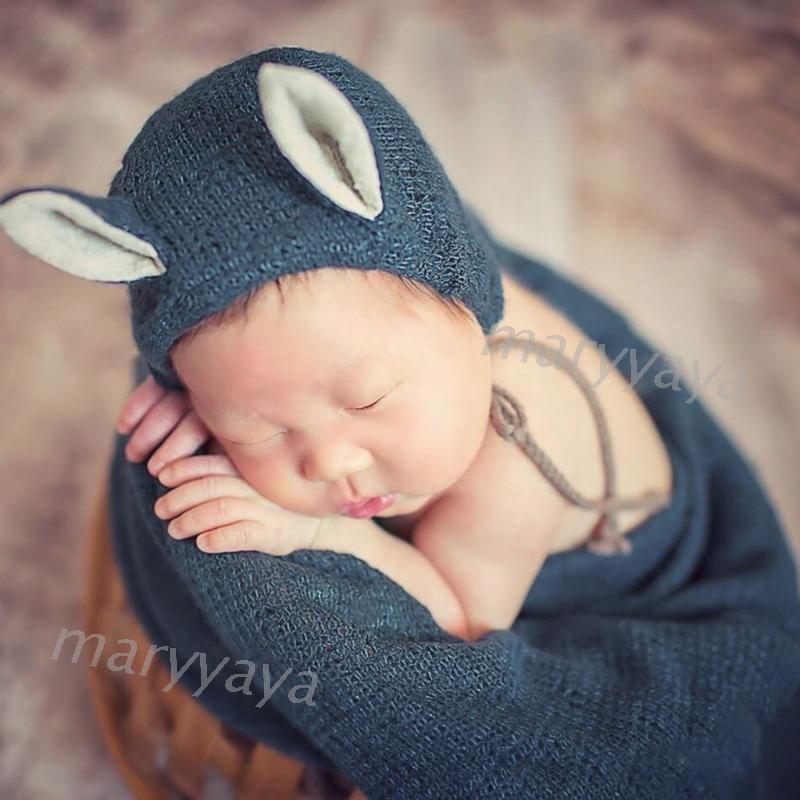 Newborn Knit Stretch Wrap+Hat Set Crochet Blanket Bonnet Baby Photography Props