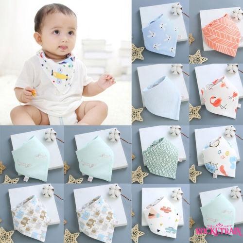 4Pcs Infant Baby Kids Burp Feeding Bibs Saliva Towel Dribble Triangle Bandana