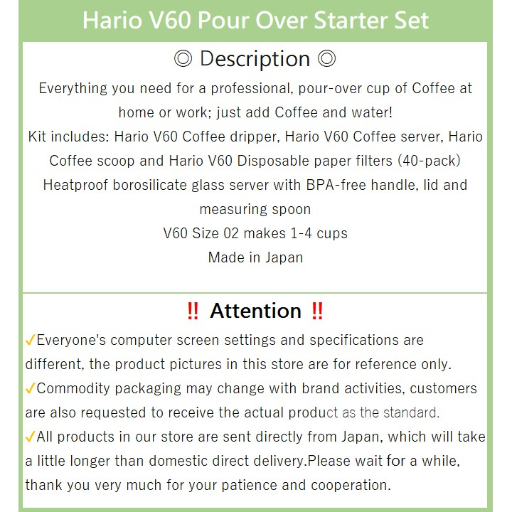 Hario V60 Pour Over Starter Set With Dripper Glass Server Scoop And Filters Size 02 1 4 Cups Vcsd 02r Vcsd 02cbr Made In Japan Direct From Japan Shopee Singapore