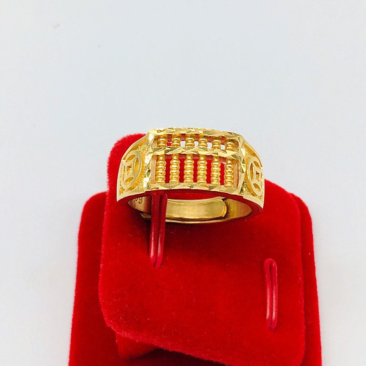 724775bc45 Fine Brass 24K Gold Plated Money Abacus Rings Lucky Rings | Shopee Singapore
