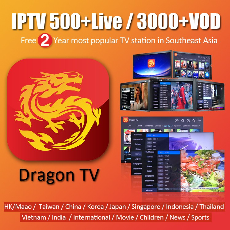 1/2 Years Dragon TV 500+Live channel 3000+VOD with Astro Channels IPTV for  Asian