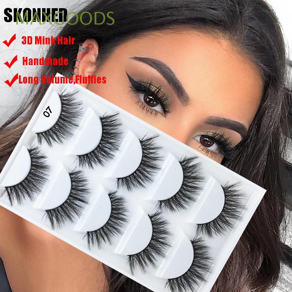 af70202c629 SKONHED 5 Pairs 3D Mink Hair False Eyelashes Extension Tools Wispy Lashes    Shopee Singapore