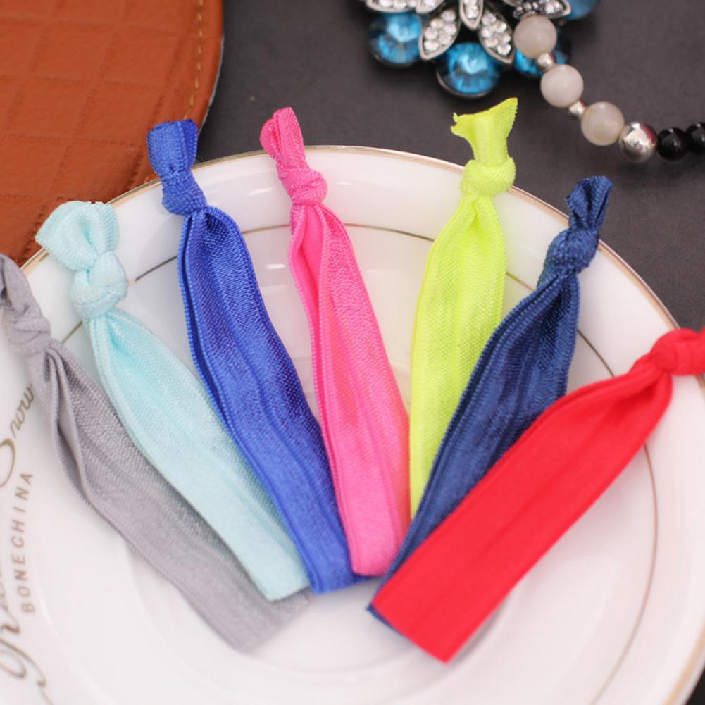 100pcs Elastic Ponytail Holder Colorful Ribbon Hair Ties Knotted Hairband Girl