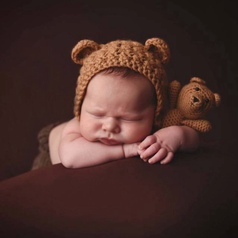 Newborn Baby Girls Boys Bear Photography Prop Photo Crochet Knit Toy Cute Gift