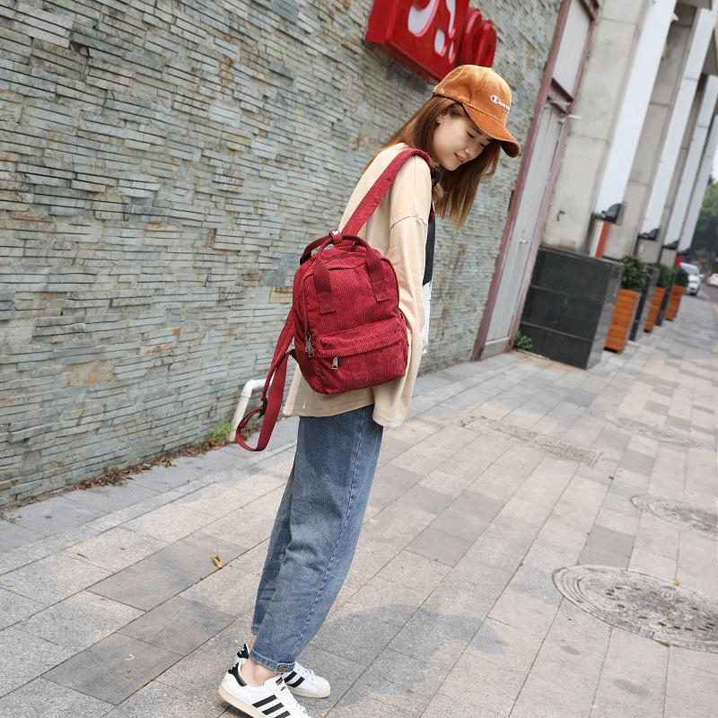 57fe3d9f58bc SALE New Korean small fresh corduroy backpack shoulder bag handbag ...