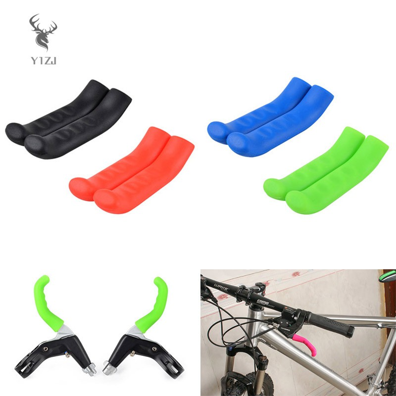 Tbest Bicycle Brake Lever Grip Protector Cover 5 Colors Anti-Slip Brake Handle Silicone Sleeve for Mountain Road Bike Cycling 1 Pair Green