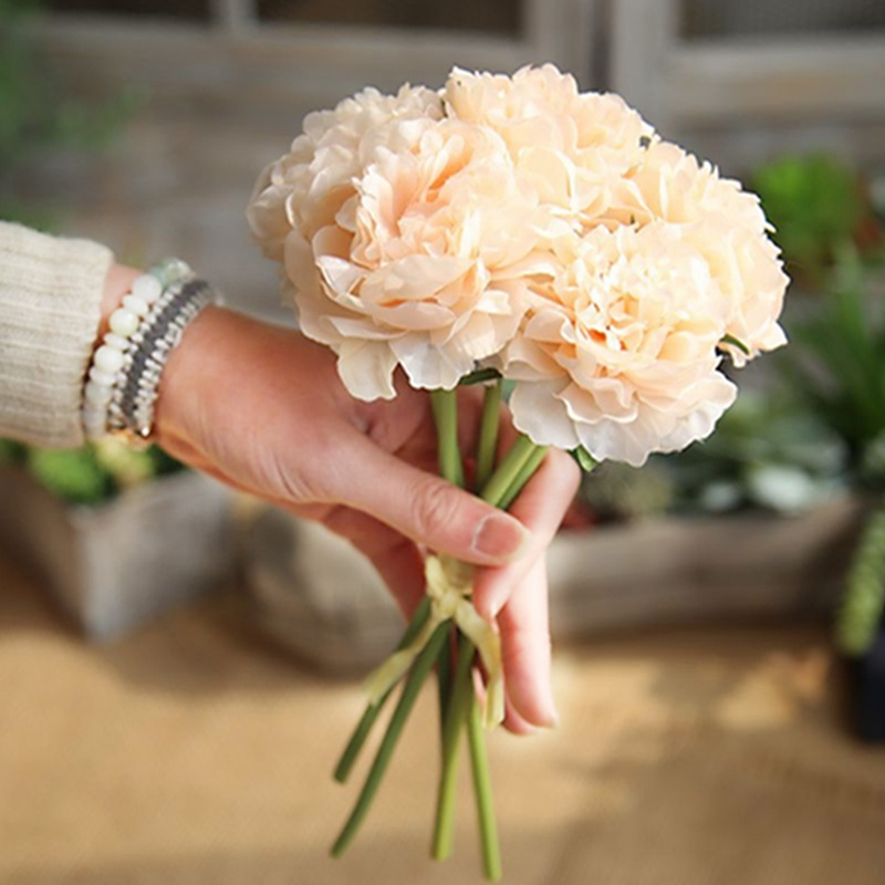 Artificial Flowers Peony Bouquet For Wedding Decoration Fake Flowers Home Decor Silk Hydrangeas Cheap Flower Shopee Singapore