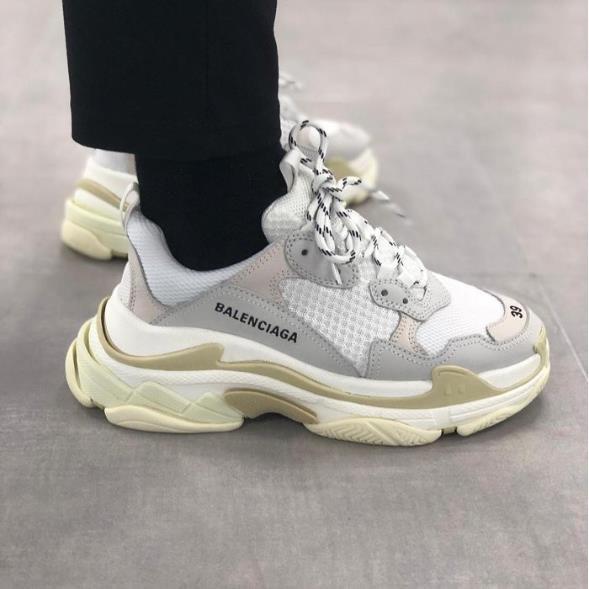 Balenciaga Triple S Low Top Bl8101 1 Dad Shoes Paris Family White Yellow