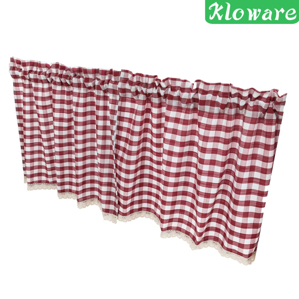 Kloware Check Plaid Gingham Window Curtain Valance Farmhouse Kitchen Curtains 51x16 Shopee Singapore