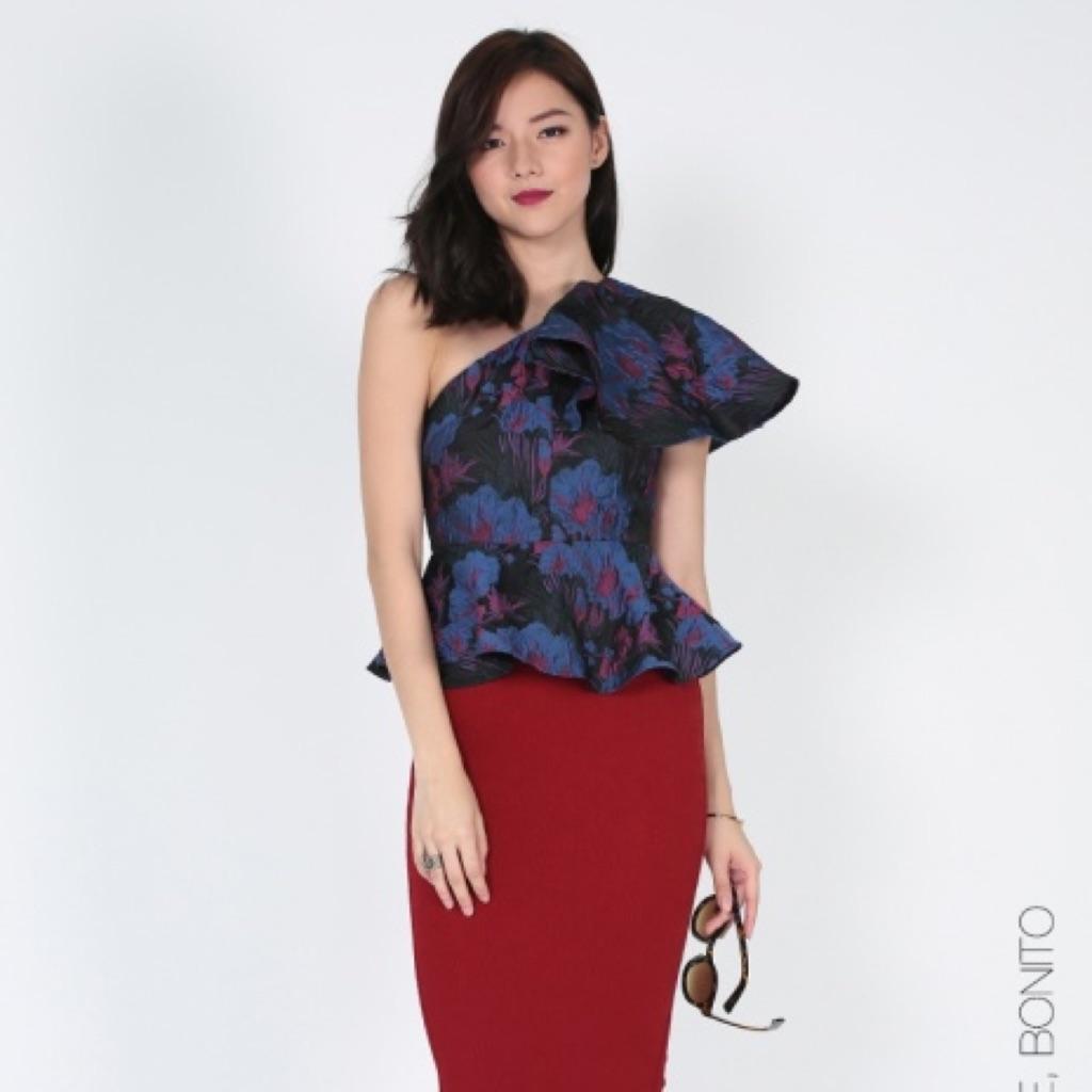 e752d42a1a3c80 Love bonito Covet Rheda Jacquard Ruffle Toga Top   Shopee Singapore